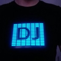T-Shirt Blue DJ Music Activated EL sound activated Equalizer