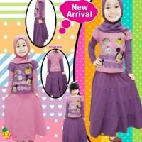 Jual stelan baju muslim anak perempuan hijab anak little pineapple lp 356-6 Murah