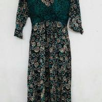 Jual daster batik kencana ungu label hitam LD Maura / dress batik Murah