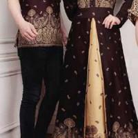 Jual Baju Couple Muslim / Batik Gamis / Pasangan Cp marbella Black 10757 Murah