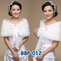Jual Aksesoris Bolero Bulu Putih Wedding l Cardigan Pesta Wanita - BBP012 Murah