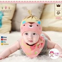 Jual Set Kupluk Bayi Slabber Korea Bear Pink Murah