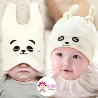 Jual Set Topi Kupluk Bayi Slabber Korea Cute Animal White Panda Murah