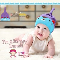 Jual Topi Kupluk Bayi Korea Bear Sky Biru Murah