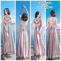 SKHVZS Long Dress Motif Dress Backless Punggung Terbuka Dress Pantai