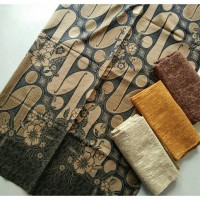 Jual kain batik solo parang barong kembang coklat tanpa embos dan bros Murah