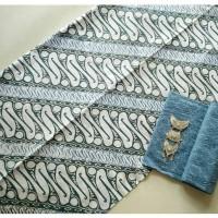 Jual kain batik cap solo indigo barong biru tanpa embos dan bros Murah