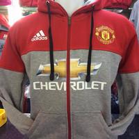 Jual Hoodie Zipper Manchester United Abu Merah Murah