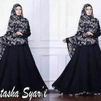 Jual Gamis Syari Natasha Muslimah Hijab Motif Bunga Polos Cantik A088 Murah