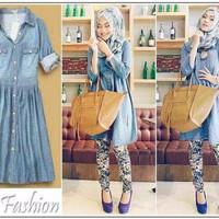 Jual Dress Jeans Tunik Wanita Denim Atasan Kerja Kuliah Hangout Murah A114 Murah