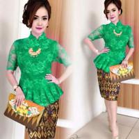 Jual Setelan Green Peplum P**da Kebaya Batik Songket TARI Murah
