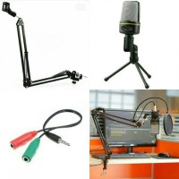 Mic sf 920 + stand mic arm + Splitter audio + pop filter