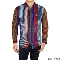 Jual Baju Casual Jeans Pria Denim Biru Kombinasi LNG 1743 Murah