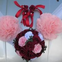 hiasan bunga mobil pengantin, dekorasi mobil wedding + 4 bunga pintu