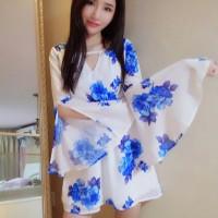 Jual b30812 flare hand dress biru putih sexy low back less chiffon Murah