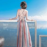 Jual b30801 long dress sexy low back less tie up stripe pink merah bir Murah