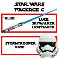 Jual Pedang Star Wars Blue Lightsaber (light sound) + Topeng Storm Trooper Murah