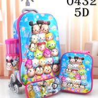 Jual Paket Tas Sekolah Anak SD Trolley Import 5D 4in1 Set Motif Tsum Tsum Murah