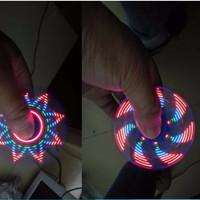 fidget spinner Plastik DOP Led Motif 20 Gambar Sinar led Warna Warni