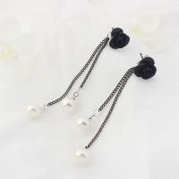 KE57619 Anting Long Tassel Black Rose Double Pearl