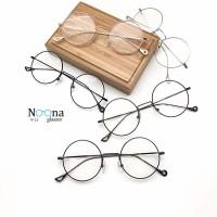Jual Frame kacamata Korea Minus Pria Wanita Fashion N003-SV Silver Bulat Murah