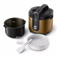 Jual PHILIPS Rice Cooker 2 L New Stainless HD3128 - Gold Murah