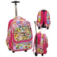 Jual Tas Trolley SD Tsum Tsum 5D Timbul Gagang Samurai Stainless - Pink Murah