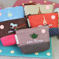 Jual Korean Dompet Koin Kanvas Vintage Coin Purse Canvas Retro 2 Tone Unik  Murah