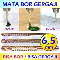 Jual Mata Bor Gergaji 6,5mm HSS Drill Bits Titanium Coated 2 Fungsi Lobang Murah