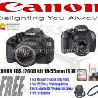 Kamera DSLR Canon EOS 1200D + Lensa 18-55mm III
