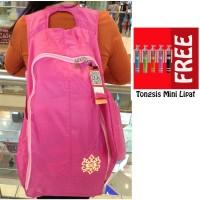 Jual Trend's Tas Ransel Waterproof Backpack - Pink + Gratis Tongsis Mini Murah