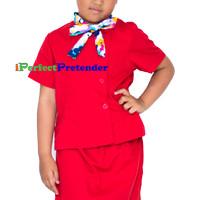 harga Kostum Baju Pramugari Anak Uk 7(7-8 Tahun) Tangan Pendek Merah Tokopedia.com