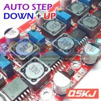 Red QSKJ Auto Buck Boost Step Down Up XL6009 Converter Solar Aki DC