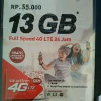 Paket kuota data Smartfren 13Gb 4G LTE 24 jam nonstop