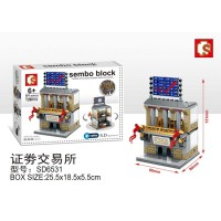 Lego Mini Block Sembo Bangunan Rumah Toko Stock Exchange SD6531
