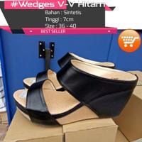 Jual Jual sepatu wedges | Sepatu Wedges V-V Hitam | Harga Wedges V-V Hitam Murah