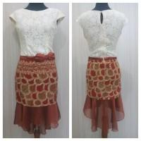 Baju Wanita Batik Semi Sutra Baju Pesta Dress Batik Pesta Sanca Brokat