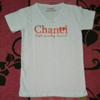Jual Kaos / T'Shirt Letter Channel Foil Black and White Murah