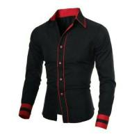 [RENDI BLACK XL] kemeja kerja polos hitam baju pria lengan panjang