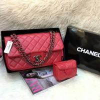 Tas Wanita Branded Chanel Maxi Anak Set Pouch Black Nickel Warna Merah