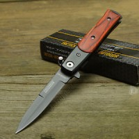 Pisau TAC Force Lil' Milano Stiletto Style Brown Wood Handle Assisted