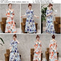 Graffiti Art Long Dress (M,L,XL) ORANGE,BLUE - 30394