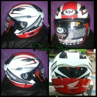 Helm Helmet Exclusive Half Face Honda Racing KYT One Hearth Satu Hati