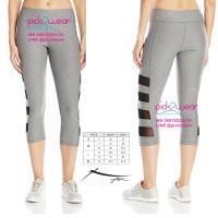 Jual Capri Legging Yoga zumba muaythai grey solid mesh Murah