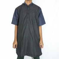 Jual Baju Muslim Pria Gamis Pakistan Al Amwa (Hitam Biru Hoodie) Murah