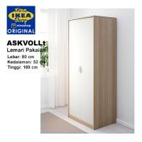 IKEA ASKVOLL Lemari Pakaian Motif Kayu Oak + Putih 80x52x189 cm