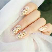 PCF wedding fake nail 3D peach flower kuku palsu 3D bunga