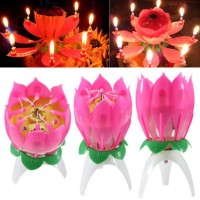 Musical Lotus Flower Flame Lights For Happy Birthday