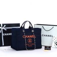 Tas Chanel Deauville Medium Denim Jeans Tote Biru Dongker MIRROR ORI