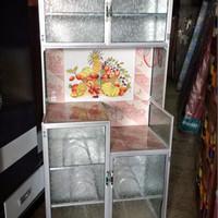 rak piring / lemari dapur 2 pintu seng aluminium gambar kaca keramik